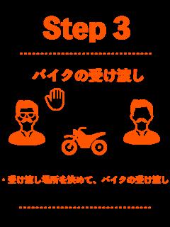 Step3。受け渡し場所で、バイクを受け渡し
